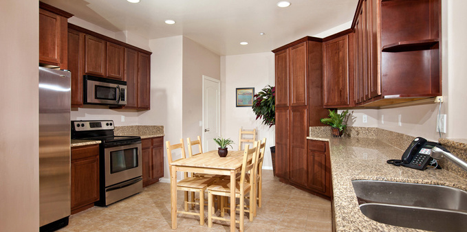 D unit kitchen Plaza Village Senior Living