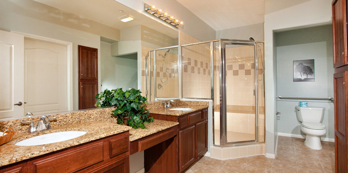 D unit master shared bath Plaza Village Senior Living