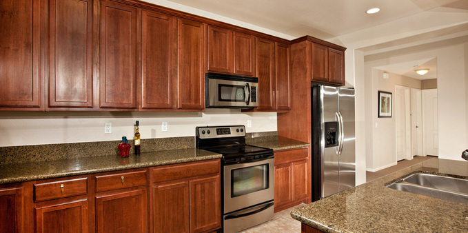 E unit kitchen Plaza Village Senior Living