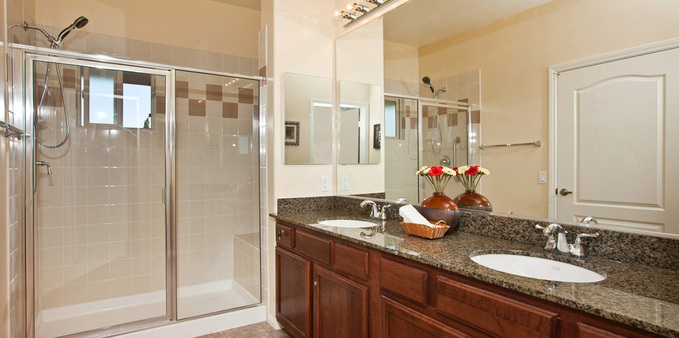 E unit master bath Plaza Village Senior Living