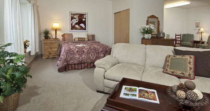 Retirement community studio apartment lynwood wa GenCare Lynnwood at Scriber Gardens