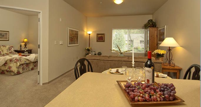 One bedroom senior living apartment home GenCare Renton at The Lodge