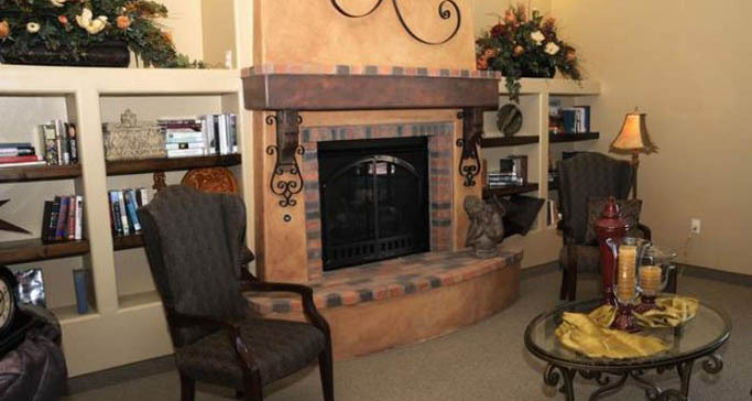Fireplace at our retirement community in tucson