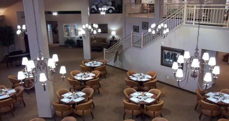 Aerial view dining room Salishan Gracious Retirement Living
