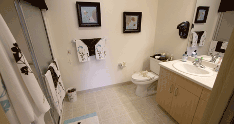 a restroom in Southern Pines Retirement Living community