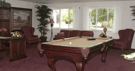 the billiards table at Southern Pines Retirement Living