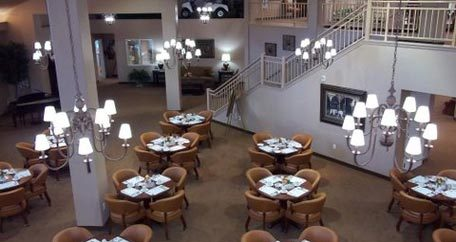 Grand dining room Southern Pines Gracious Retirement Living