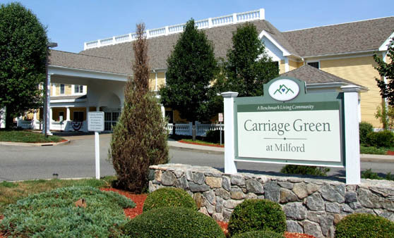 Senior living in Connecticut at Carriage Green entry sign