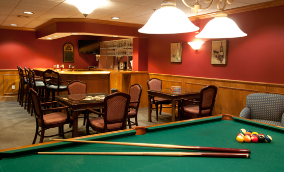 Mansfield, MA senior living billiards room at The Village at Willow Crossings