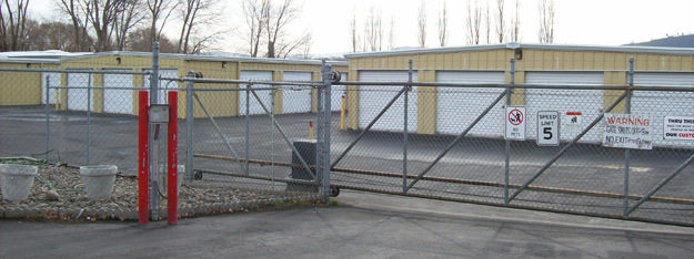 The security gate into The Dalles Storage