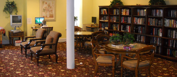 Residents can enjoy a book in the woodbury library.
