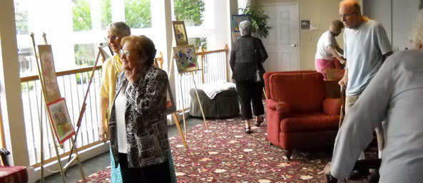 Residents at Woodbury Mews host an art show.