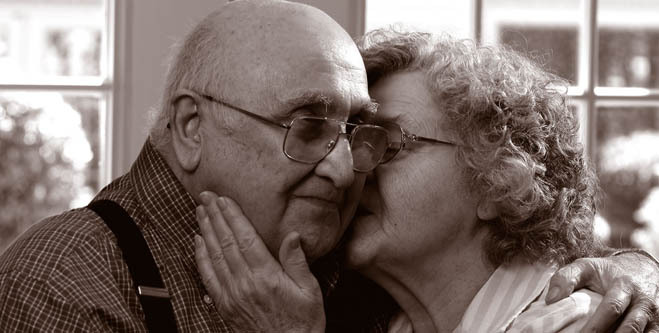 Loving couple at senior living community in Somerset