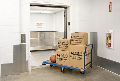 A-1 Self Storage cart with boxes
