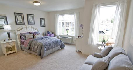 Hawthorn Retirement Communities master bedroom for independent living.