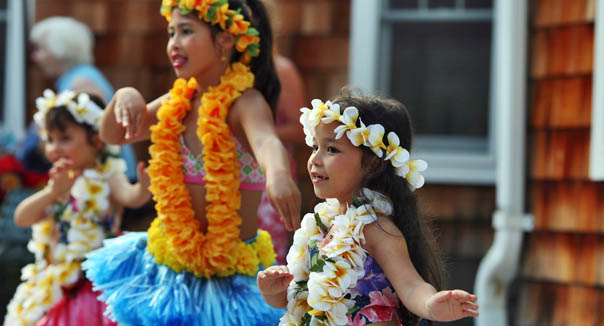 Hula dancing at a community luau at Maplewood at Newtown
