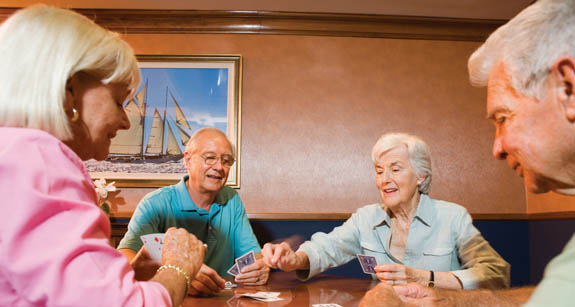 Senior resident gambling at Aston Gardens at Sun City Center in Florida