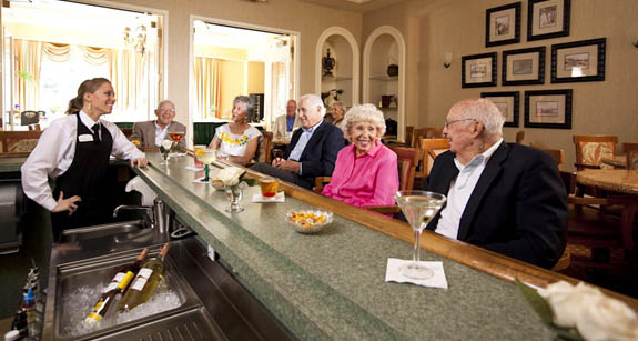 Residents of a Venice FL retirement community enjoying happy hour