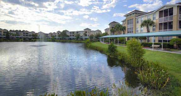 Lake view senior apartments at Aston Gardens at Tampa Bay