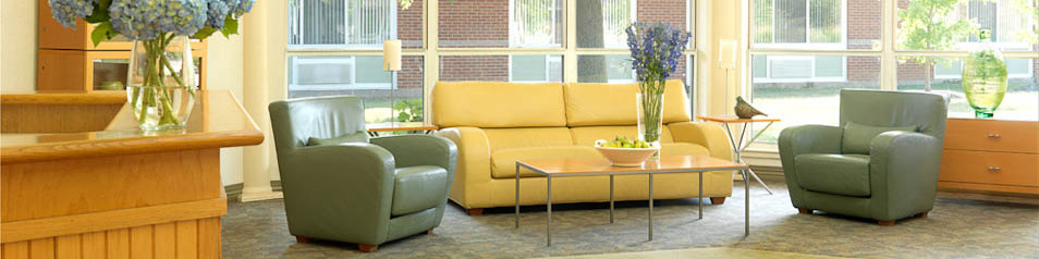 Garden View Care Center's common areas are stylist and comfortable.