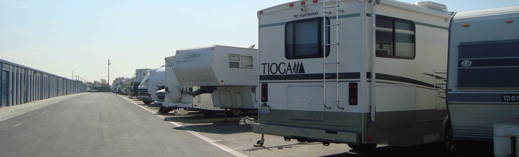 Rv parking at Long Beach self storage facility