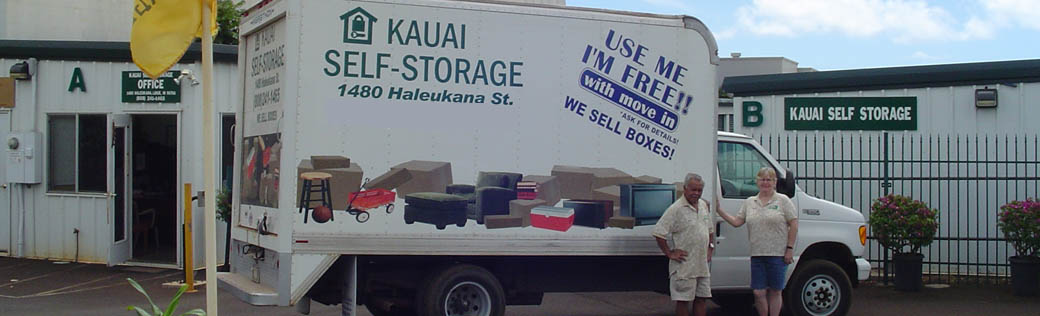Truck at Lihue self storage facility