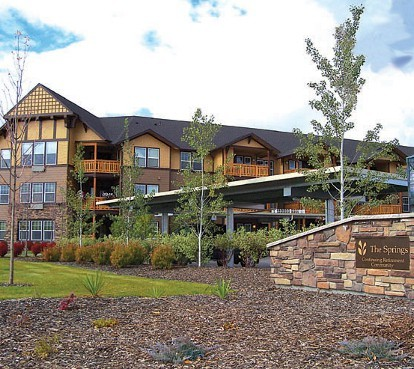 Charming building exterior at The Springs at Missoula retirement community in Montana