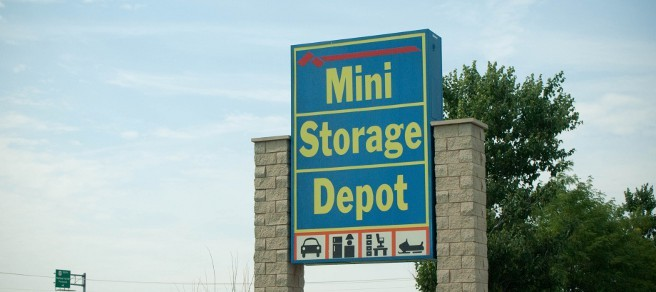 Entry sign at south bend Mini Storage Depot