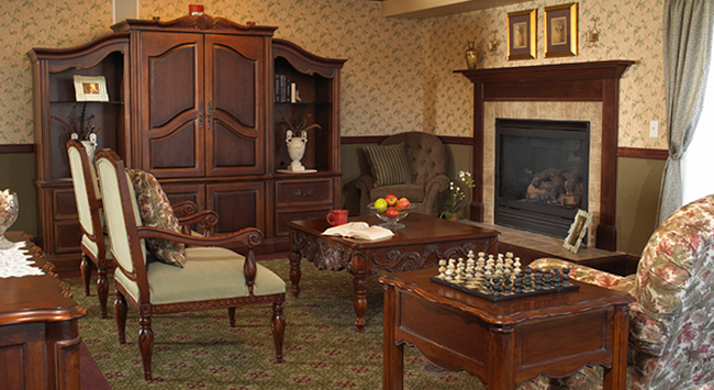 Cozy senior living room featured at senior living community in Eden Prairie
