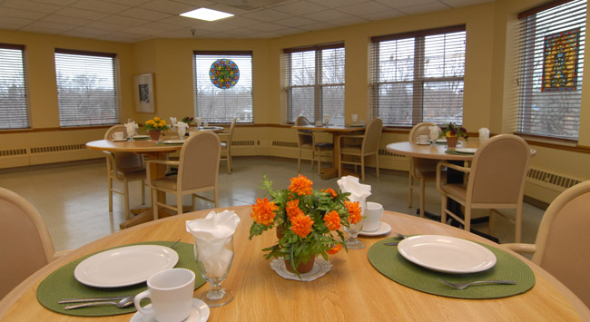 Beautifully designed dining room at Minneapolis senior living community