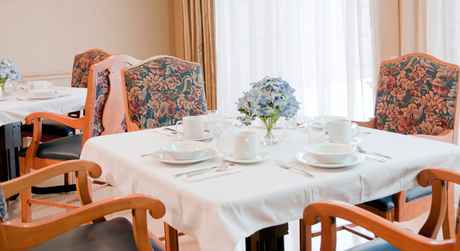 Beautifully decorated dining room at Birchwood Senior Living