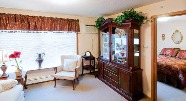 Stylish living room at senior living community