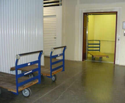 Handcarts in hallways CASCADE HEATED SELF STORAGE