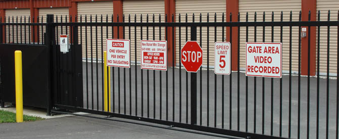 New Market self storage units behind security gate