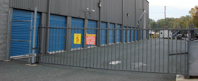 Security gate at Bel Air self storage facility