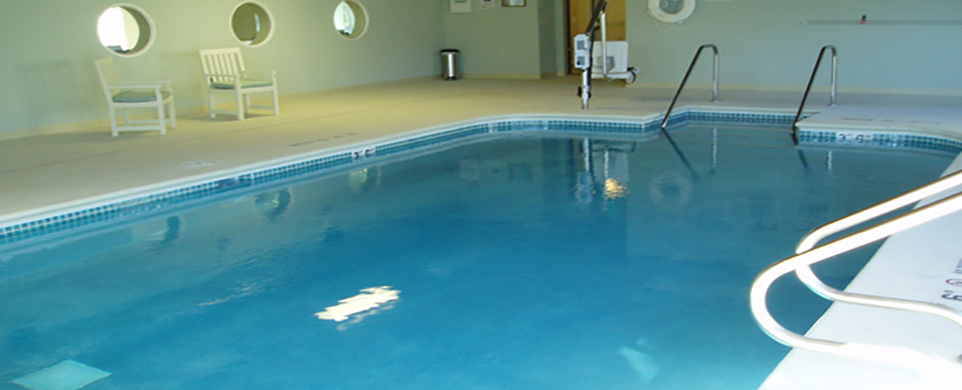 Beautiful salt water pool featured at our senior living in Edina