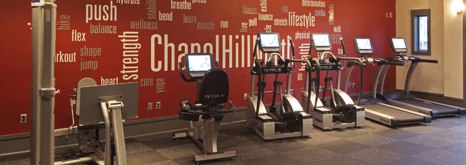Modern well equipped fitness center Chapel Hill North Apartments