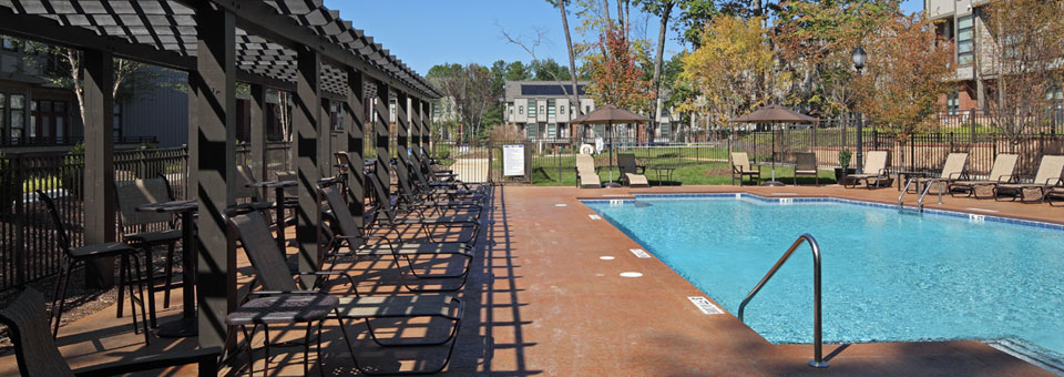 Relaxing poolside veranda Chapel Hill North Apartments