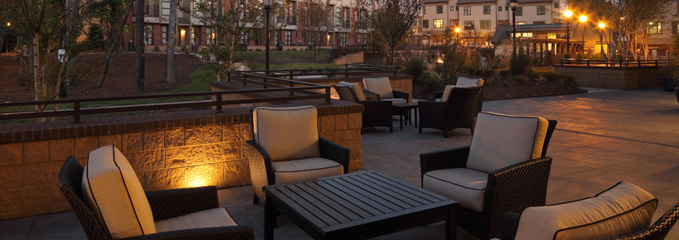 Unwind with friends at the courtyard Chapel Hill North Apartments