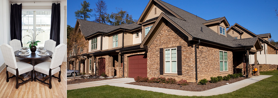 Gorgeous townhome exteriors and landscaping at Chapel Watch Village