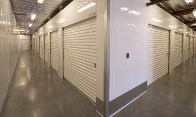 Interior hallway self storage units at the Magellan Storage near Newport Beach