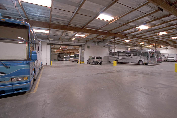 Interior RV parking at the Costa Mesa Magellan Storage