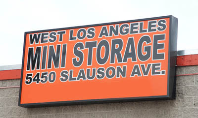 Sign on building at culver city West L.A. Mini Storage