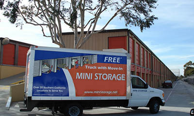 Move in truck outside at manhattan beach self Redondo Torrance Mini Storage