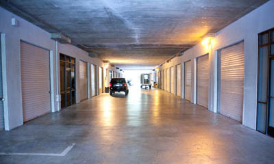 Wide drive through aisles at Van Nuys self storage