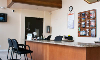 Office interior at self storage in Anaheim