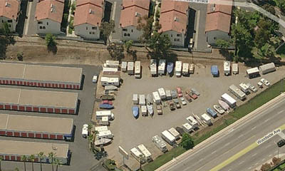Aerial view of mini storage in El Cajon