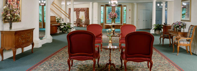 The elegant lobby of Arbor Oaks at Greenacres