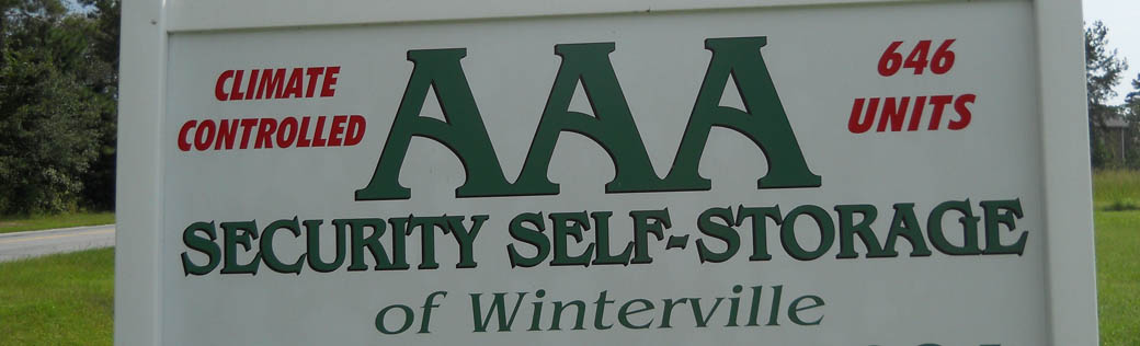 Front sign at self storage in Winterville