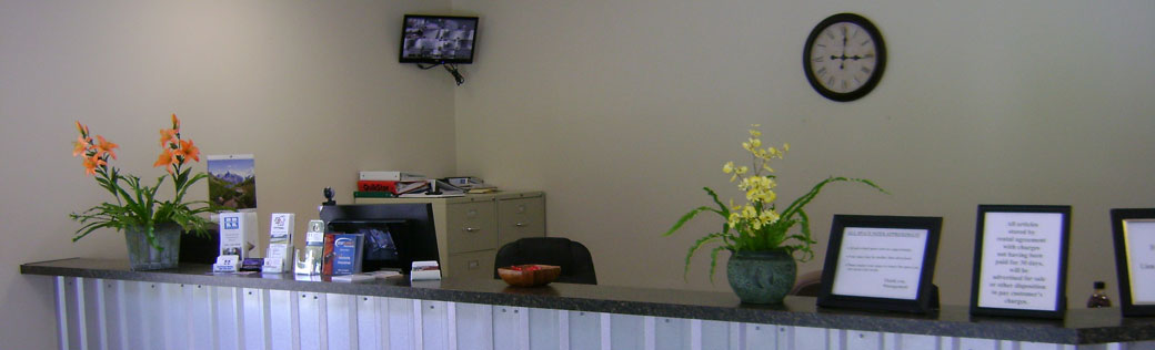 Welcoming desk featured at Birmingham self storage